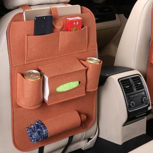 1 Piece Multifunctional Felt Car Back Seat Storage Bag - Brown