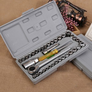 40 Pieces Car Set Combination Socket Wrench - Silver