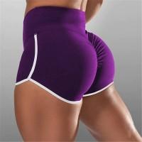 Elastic Waist Women Push Up Sportswear Short - Purple