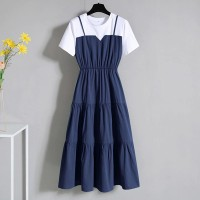 Round Neck Short Sleeves Contrast Blue and White Doll Dress- Blue