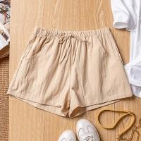 Drawstring Fashion Loose Summer Wear Women Shorts - Khaki