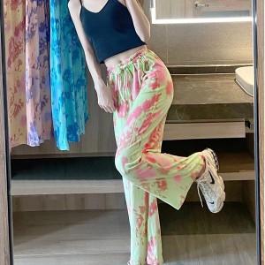 Dye Contrast Color Wide Leg Comfy Wear Bottom Trouser - Green