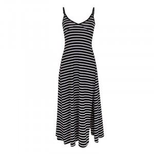 Spaghetti Strap V Neck Split Hem Midi Dress - Black and White