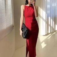 Spaghetti Strap Solid Color Split Hem Midi Dress - Red