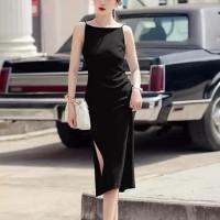 Spaghetti Strap Solid Color Split Hem Midi Dress - Black