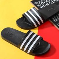 Stripes Contrast Casual Wear Flat Wear Slippers - Black