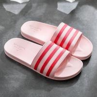 Stripes Contrast Casual Wear Flat Wear Slippers - Red