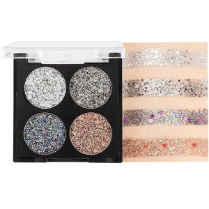 Four Shaded Colorful Eyeshadow Glitter Palette 01 - Silver
