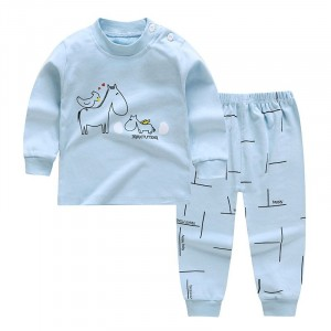 Round Neck Cute Boys Girls Unisex Printed Matching Sets - Blue Bell