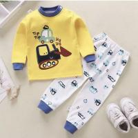 Round Neck Cute Boys Girls Unisex Printed Matching Sets - Blue Yellow