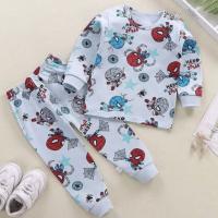 Round Neck Cute Boys Girls Unisex Printed Matching Sets - Blue Ash