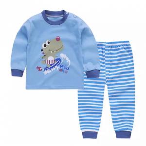 Round Neck Cute Boys Girls Unisex Printed Matching Sets - Royal Blue