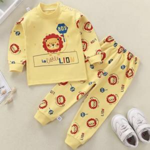 Round Neck Cute Boys Girls Unisex Printed Matching Sets - Light Ochre Yellow