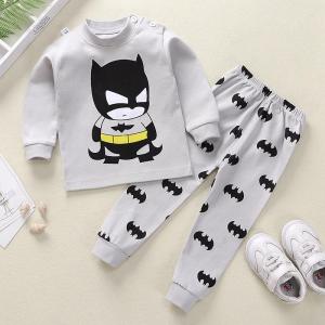Round Neck Cute Boys Girls Unisex Printed Matching Sets - Gray