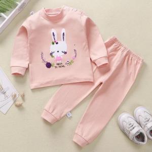 Round Neck Cute Boys Girls Unisex Printed Matching Sets - Pink