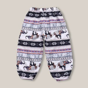 Trendy Animal Prints Narrow Bottom Kids Trouser - Black and White