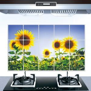 Sunflower Print Temperature Resistant Anti Dirt Kitchen Protective Sheet - Green