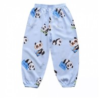 Fancy Panda Prints Elastic Waist Narrow Bottom Kids Trouser - Blue