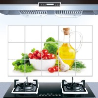 Vegetable Print Temperature Resistant Anti Dirt Kitchen Protective Sheet - Yellow
