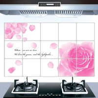 Flower Print Temperature Resistant Anti Dirt Kitchen Protective Sheet - Pink