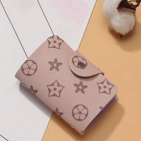 Printed Button Closure Card Wallet - Pink