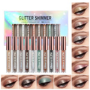 Ten Pieces Eye Glitter Shades Set - Multicolor