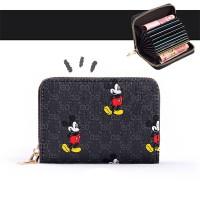 Mickey Printed Zipper Closure Mini Card Money Wallet - Black