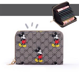 Mickey Printed Zipper Closure Mini Card Money Wallet - Gray