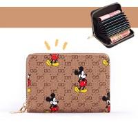 Mickey Printed Zipper Closure Mini Card Money Wallet - Brown