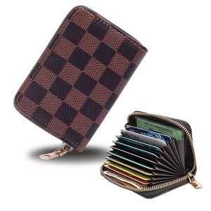 Mickey Printed Zipper Closure Mini Card Money Wallet - Dark Brown