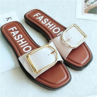 Buckle Closure Flat Sole Synthetic Leather Slippers - White Brown