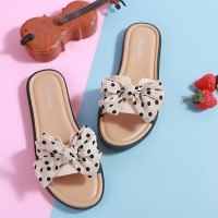 Bow Patched Polka Dot Printed Flat Wear Slippers - White