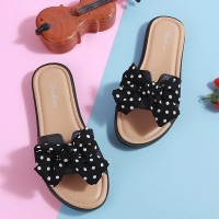 Bow Patched Polka Dot Printed Flat Wear Slippers - Black