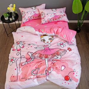 Ballerina Girl 3D Design 4 Pieces Single Size Bedding Set - Pink