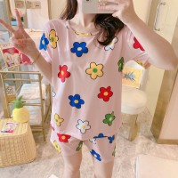 Solid Cute Pattern Short Sleeve Comfortable Two Piece Pajama Suit - Pink