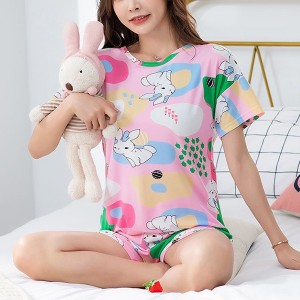Solid Cute Pattern Short Sleeve Comfortable Two Piece Pajama Suit - Multicolor
