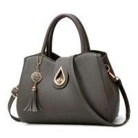 Tassel Leather Woman Fashion Shoulder Bag - Dark Grey