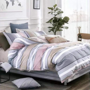 Stripes Printed Three Pieces Bedsheet With Pillow Cases Set - 180 x 230cm