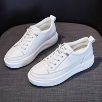 Lace Closure Sports Wear Flat Women Fashion Sneakers - White