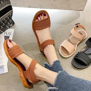 Braid Pattern Buckle Closure Women Fashion Sandals - Brown