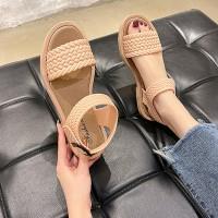 Braid Pattern Buckle Closure Women Fashion Sandals - Beige