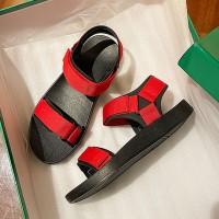 Velcro Closure Flat Sole Sports Wear Slippers - Red