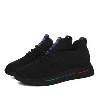 Mesh Pattern Lace Closure Flat Sportswear Sneakers - Black