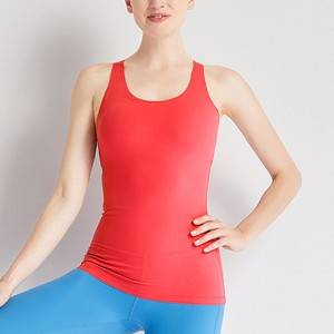Cross Back Solid Color Summer Excercise Gym Sports Top - Rose Red