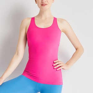 Cross Back Solid Color Summer Excercise Gym Sports Top - Hot Pink