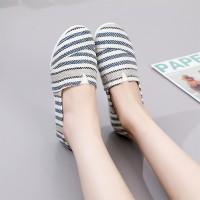 Stripes Printed Slip Over Women Fashion Flat Shoes - Blue
