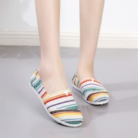 Canvas Stripes Printed Flat Wear Flat Shoes - Multicolor