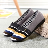 Canvas Stripes Printed Flat Wear Flat Shoes - Gray