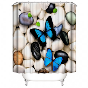 Butterfly With Stone Design Shower Curtain With 12 Hooks