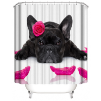 Cute Dog Design Shower Curtain With 12 Hooks